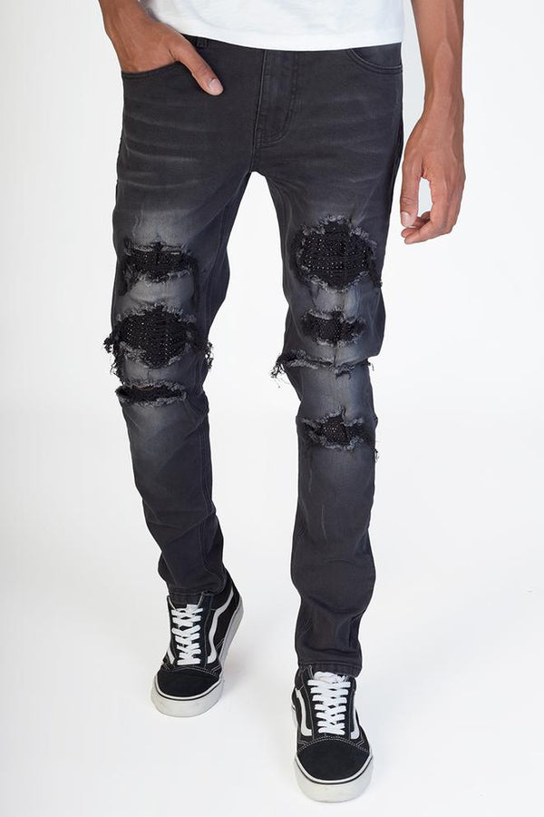 KDNK-Rhinestones & Stud Patched Jeans-Black