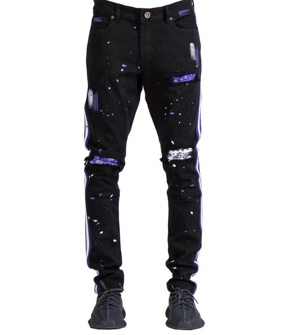 Focus-Fashion Bandana R & R Stripe Denim-Black/Purple