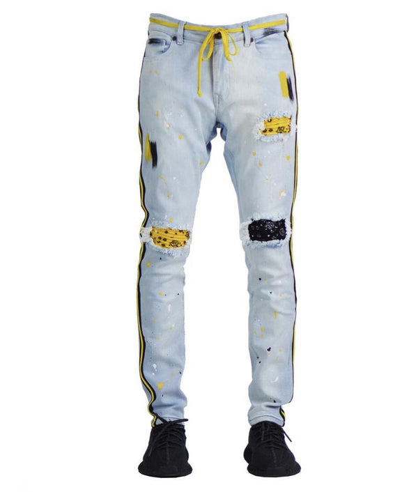 Focus-Fashion Bandana R & R Stripe Denim-Ice Blue/Yellow
