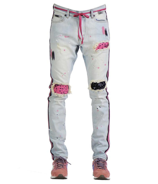 Focus-Fashion Bandana R & R Stripe Denim-Lt Vintage/Pink
