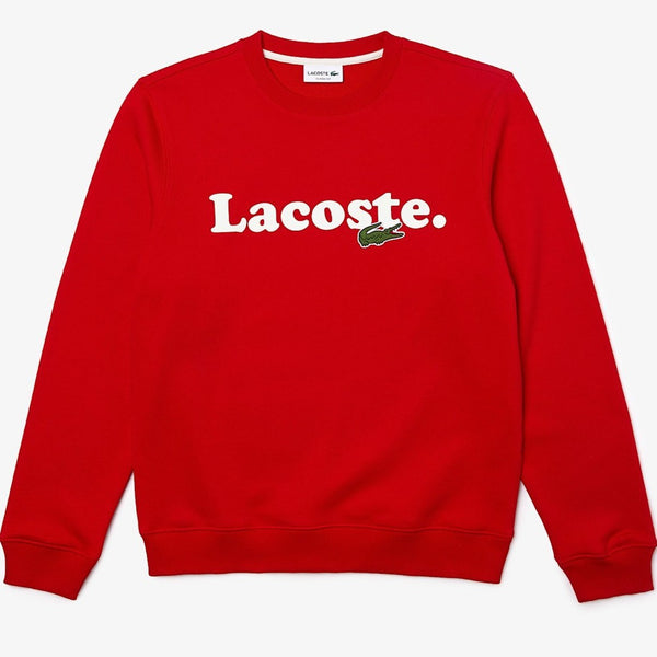 LaCoste-Lacoste And Crocodile Branded Fleece Sweatshirt- Red • 240-SH2173