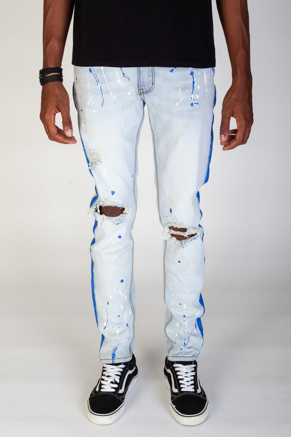 KDNK-Blue Paint Striped With Paint Splatter-Blue