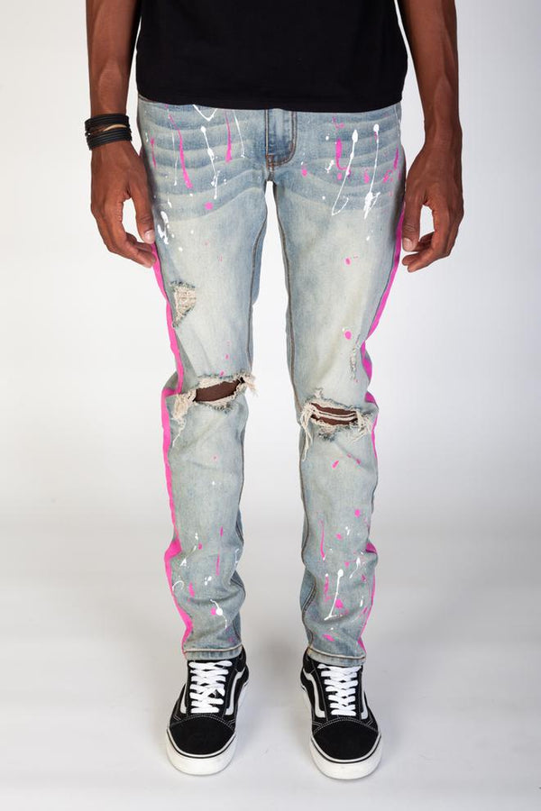 KDNK-Paint Striped Jeans W/painted Splatter-Light Blue