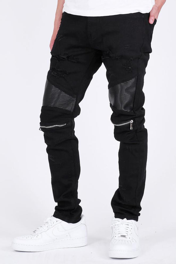 KDNK-Knee Zippered Moto Jeans-Black