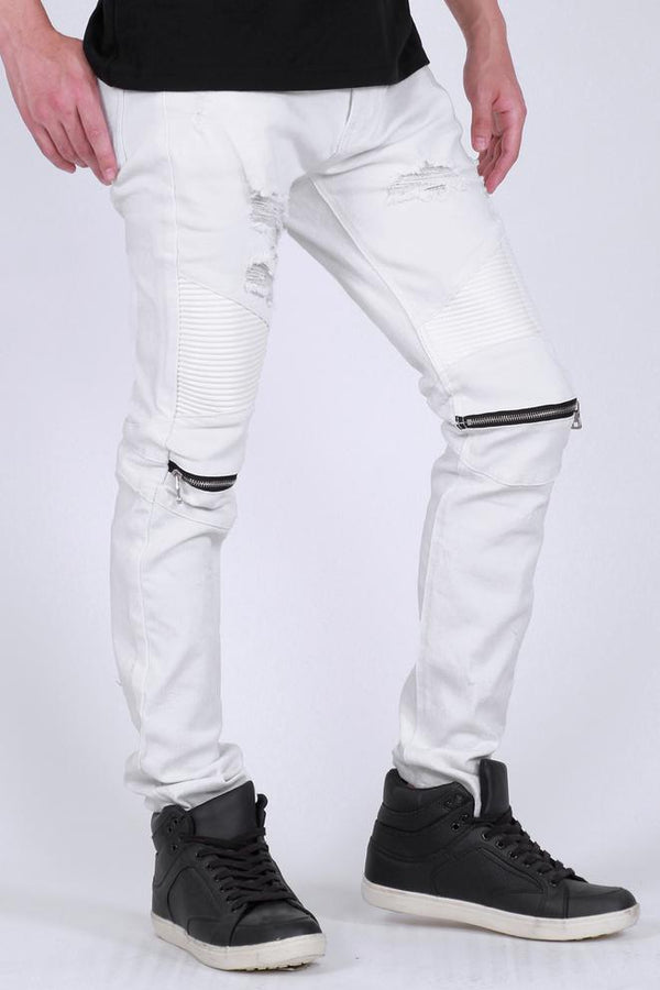 KDNK-Knee Zippered Moto Pants-White