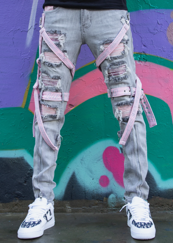 Locked & Loaded-Strap and Stones Denim-Grey/Pink