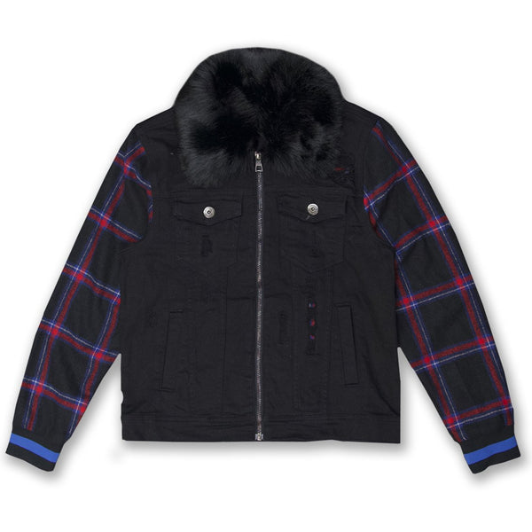 Makobi-Denim And Plaid Biker Jacket-Black
