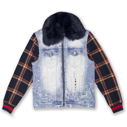 Makobi-Denim And Plaid Biker Jacket-LT.Wash