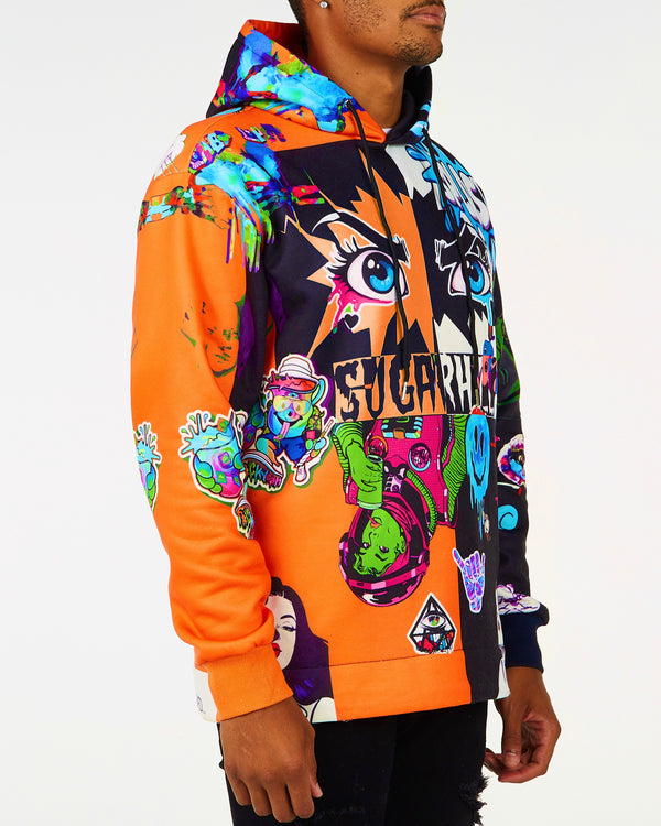 Sugarhill-Orange & Black Split Psycho Hoodie