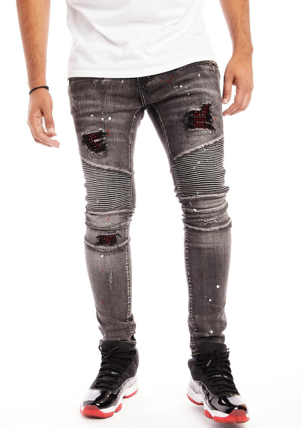 Damati-Biker Denim W/Red Stones-Grey(DMT-C-12B)