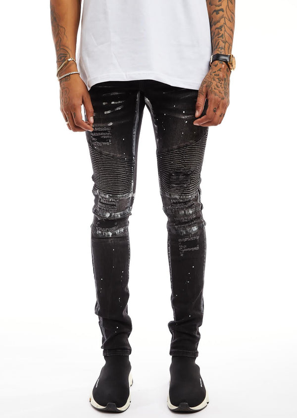 Damati-Splatter Biker Denim Jeans-Black(DMT-C-11B)
