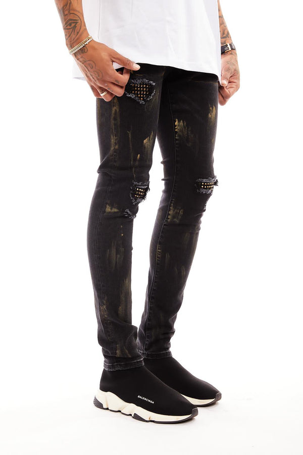 Damati-Black Stretchy Denim W/Gold Stones-Black(DMT-C-13B)