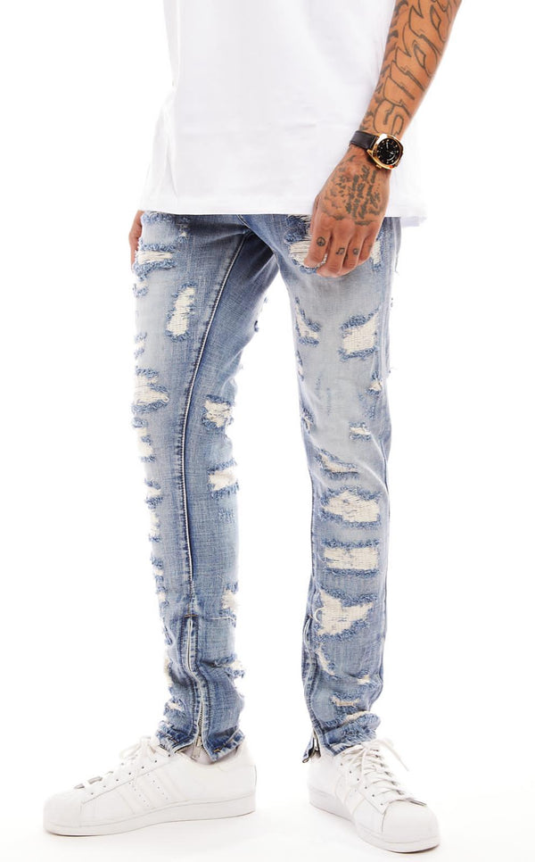 Damati-Distressed Denim Jeans-LT Wash(DMT-7-2)