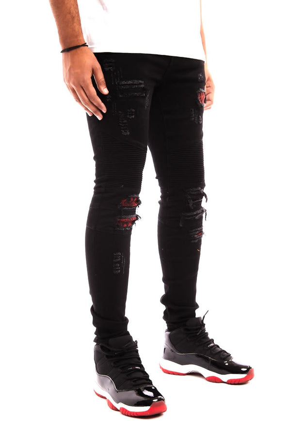 Damati-Biker Denim W/Red Snake Patch-Black(DMT-C-22B)