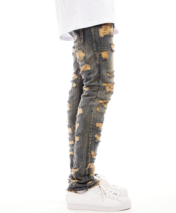 Damati-Distressed Denim Jeans-LT Wash(DMT-7-1)