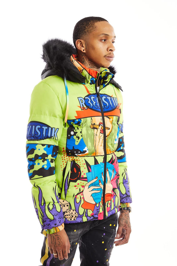 Reelistic-Player Puffer Jacket-Neon