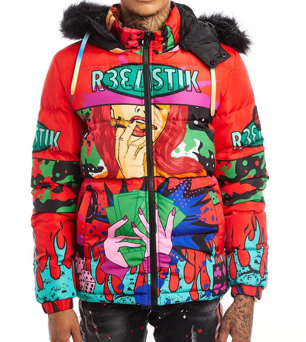 Reelistic-Player Puffer Jacket-Red