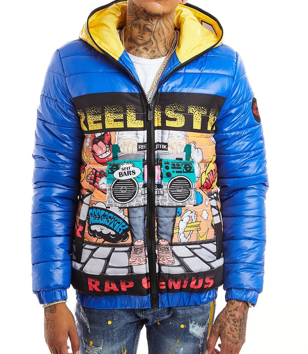 Reelistik-Rap Genius Puffer Jacket-Blue/Yellow