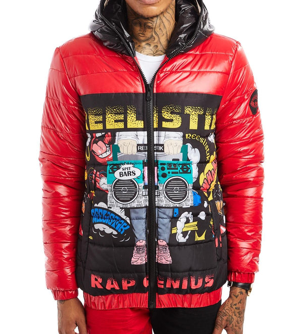 Reelistik-Rap Genius Puffer Jacket-Black/Red