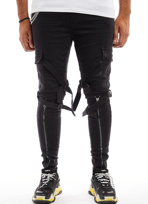 Reelistic NYC-Zippered Cargo Jeans-Black