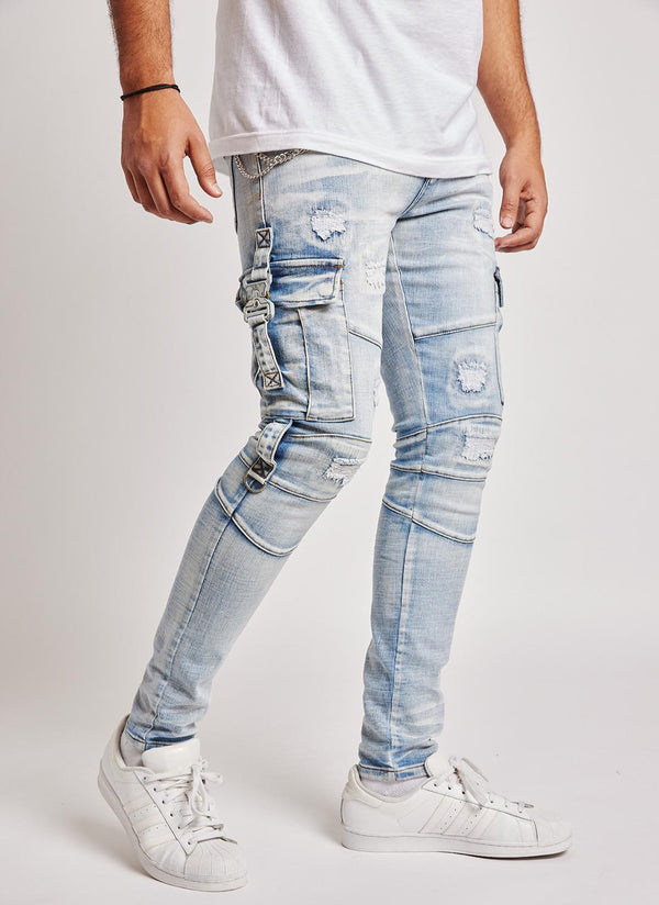 Reelistic NYC-Cargo Jeans-Light Blue