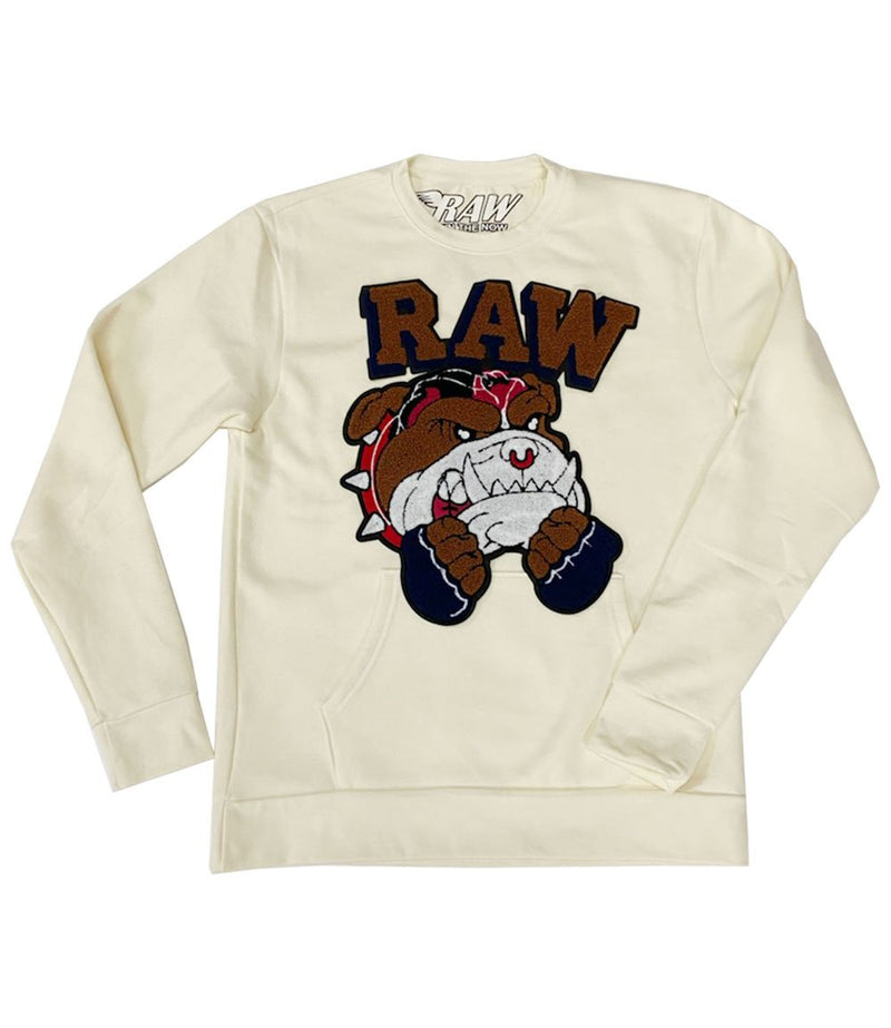 Rawyalty-Bulldog Chenille Long Sleeve Crewneck-Cream