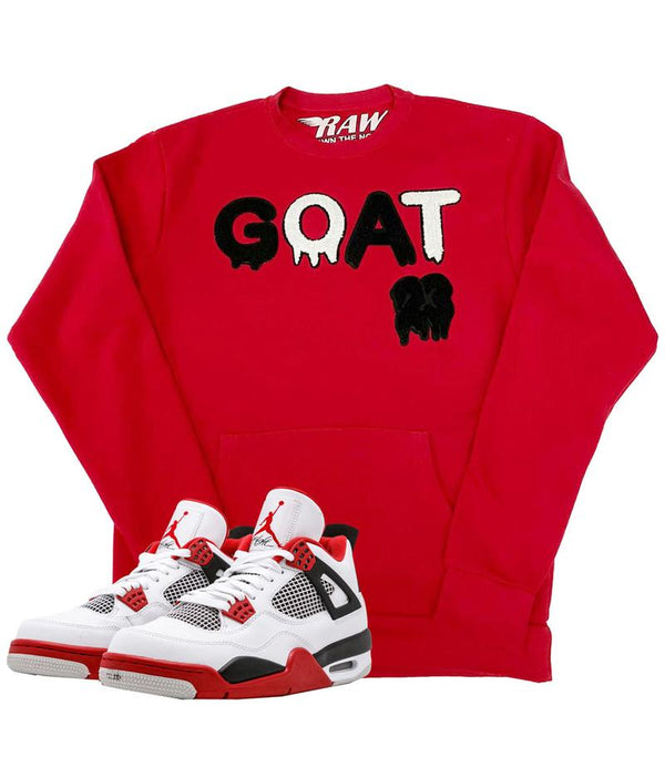 Rawyalty-GOAT Black Chenille Long Sleeves-Red