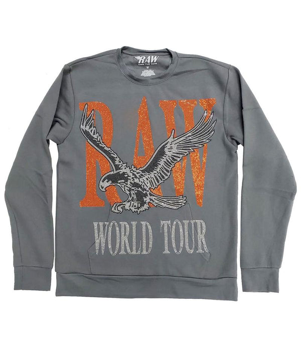 RAW World Tour Orange Bling Crewneck-Heavy Meatal Grey