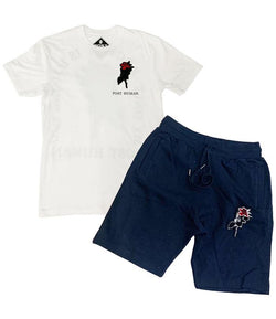 Rawyalty-Rose Chenille Set-White/Navy