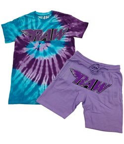 Rawyalty-Purple Chenille Tie Die Crew Neck Set-Lavender