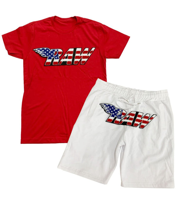 Rawyalty-USA Chenille Crew Neck Set-Red/White