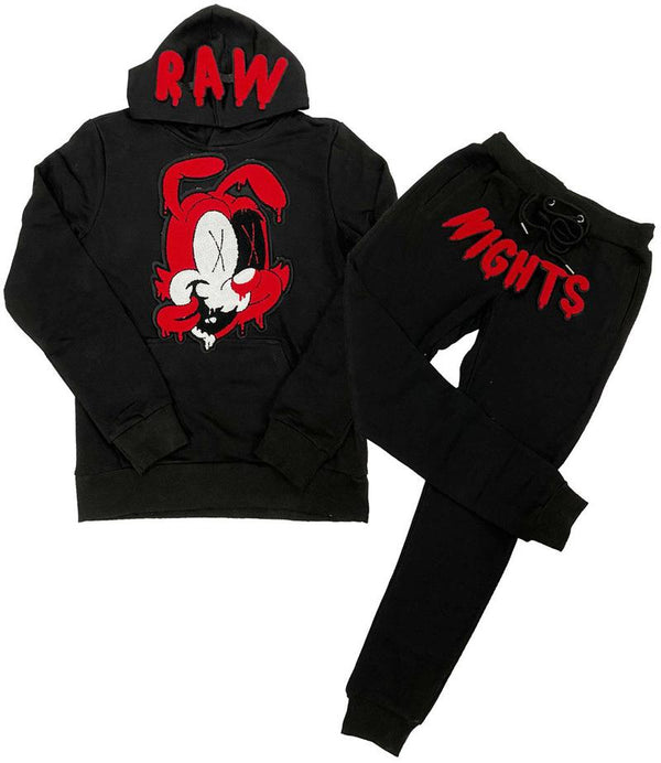 Rawyalty-Night Red Chenille Hoodie & Jogger Set-Black
