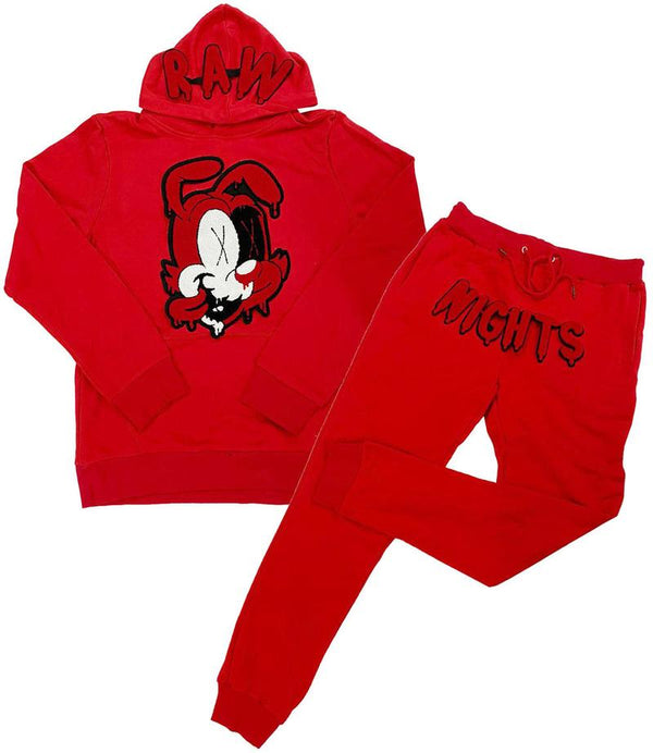 Rawyalty-Raw Night Red Chenille Hoodie Jogger Set-Red