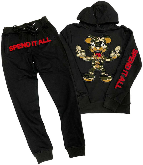 Rawyalty-Spend It All Chenille Hoodie Jogger Set-Black
