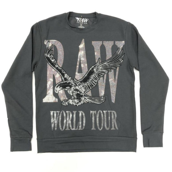Rawyalty-RAW World Tour Silver Bling Crewneck-Heavy Meatal Grey