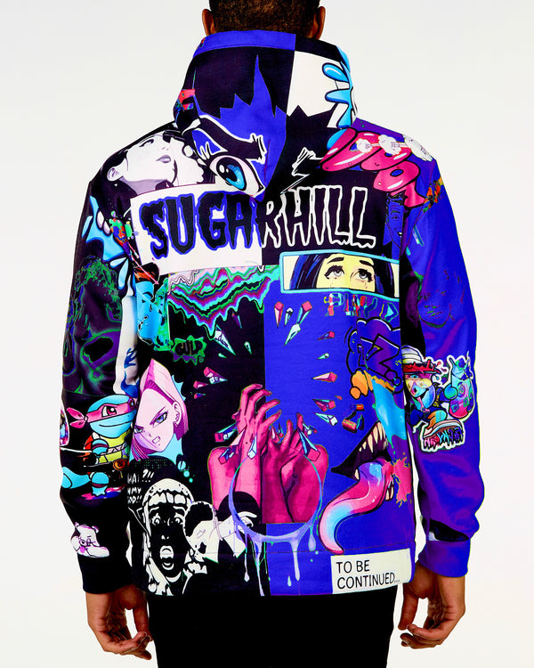 Sugarhill-Split Royal & Black Psycho Hoodie