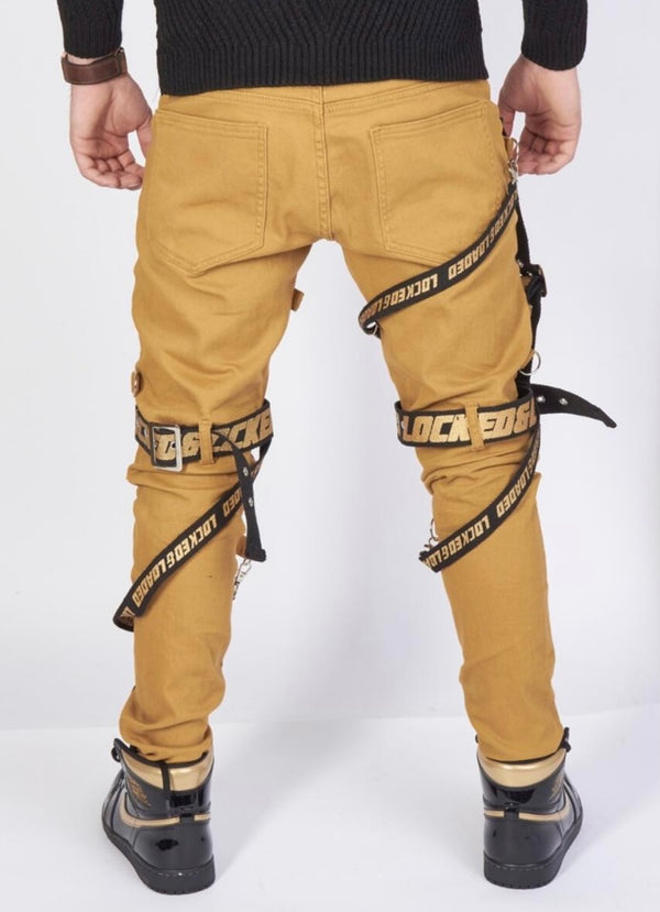 Locked & Loaded-Strap and Stones Denim-Khaki/Black