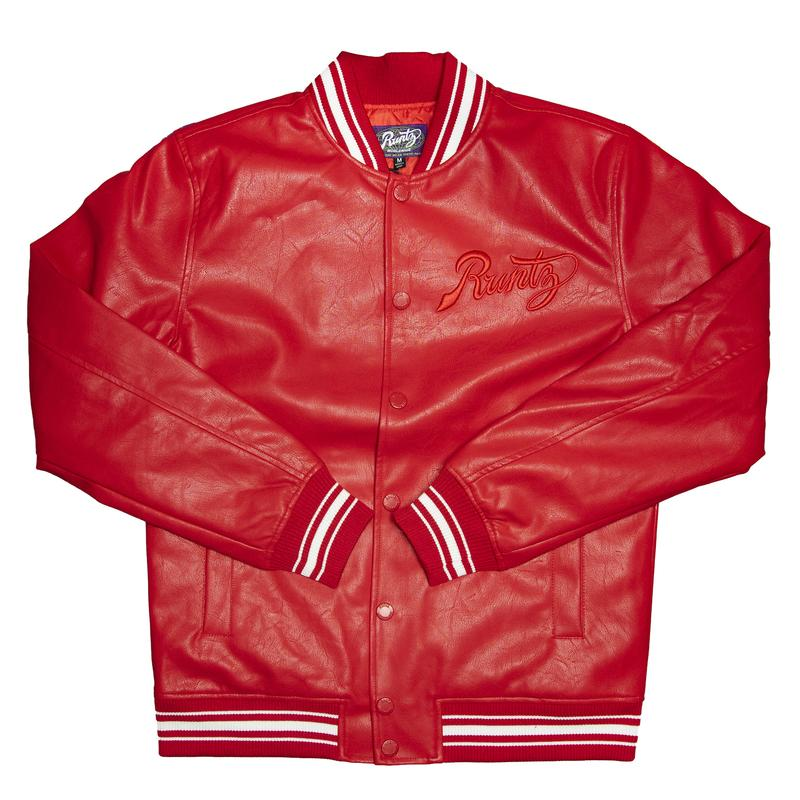 Runtz-Scripted Leather Varsity Jacket-Red