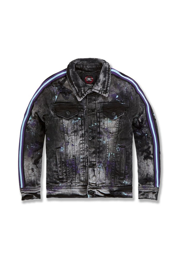 Jordan Craig Kids-Sparta Striped Denim Jacket-Dark Raven-91526