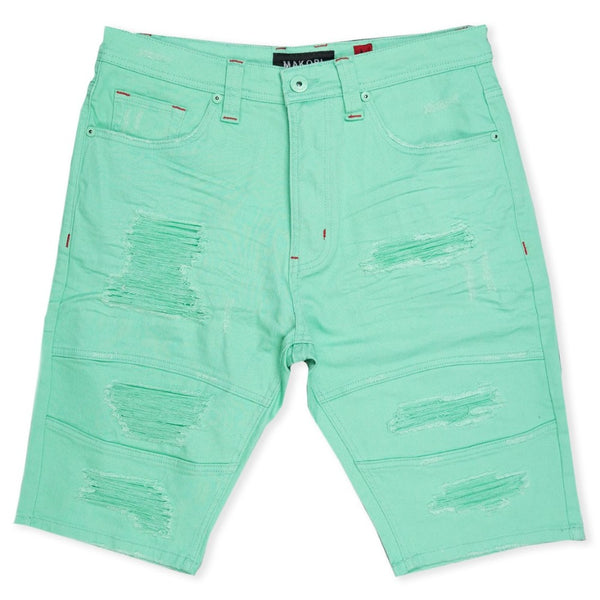 Avlaki Shredded Twill Shorts-Mint