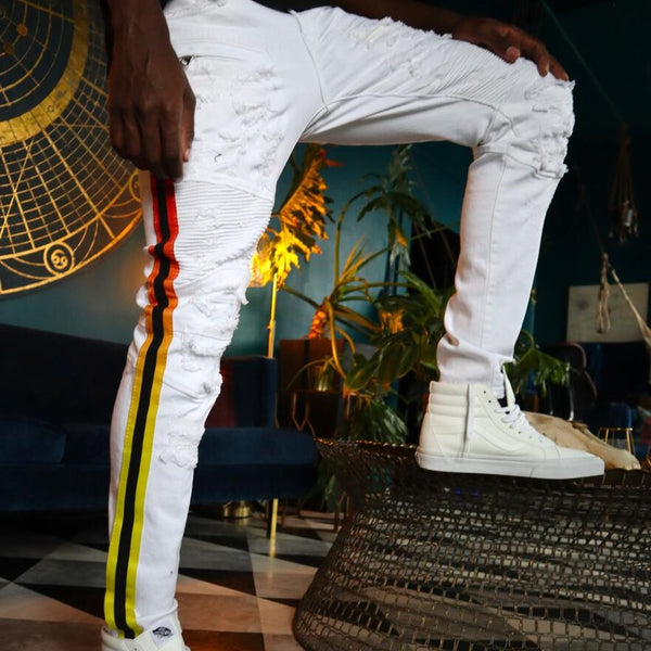 Preme Jeans-Red/Orange/Yellow Faded Striped Motto Jeans-White