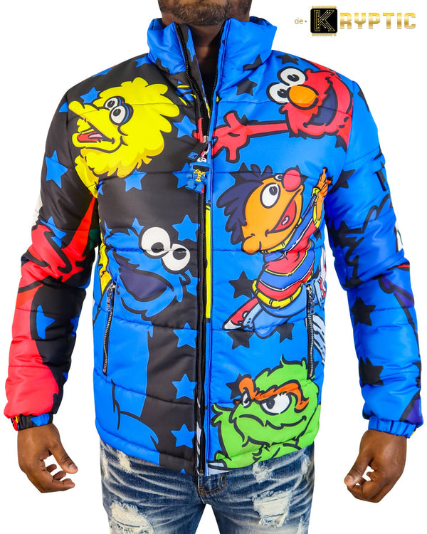 deKryptic x Sesame Street®-Cookie Monster Bubble Jacket-Blue