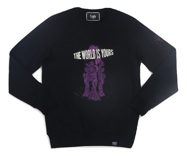 Denimicity-The World Is Yours Crewneck-Black/Purple
