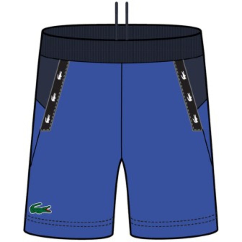 Lacoste-SPORT Crocodile Striped Colorblock Fleece Shorts-Blue/Navy Blue • QBN-GH4871