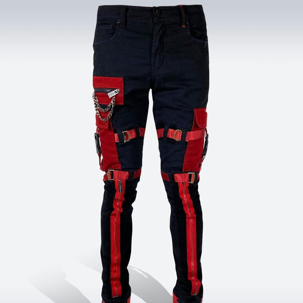 Preme Jeans-Strapped Cargo Jeans-Black/Red