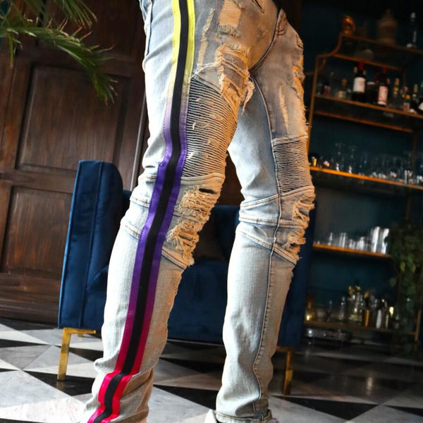 Preme Jeans-Yellow/Purple/Pink Fade Striped Motto Jeans-Indigo