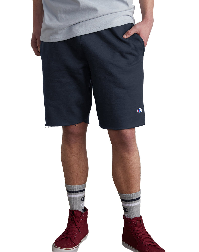 Champion-Reverse Weave Cut-Off Shorts-Navy-89597