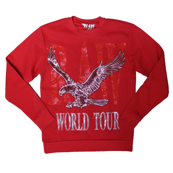 Rawyalty-RAW World Tour Red Bling Crewneck-Red