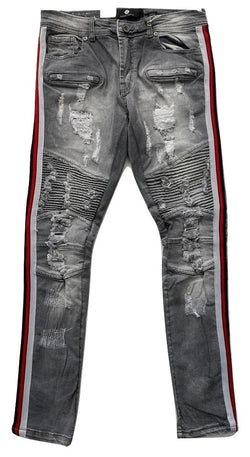 Focus Jeans-Grey/Red Stipes-Grey