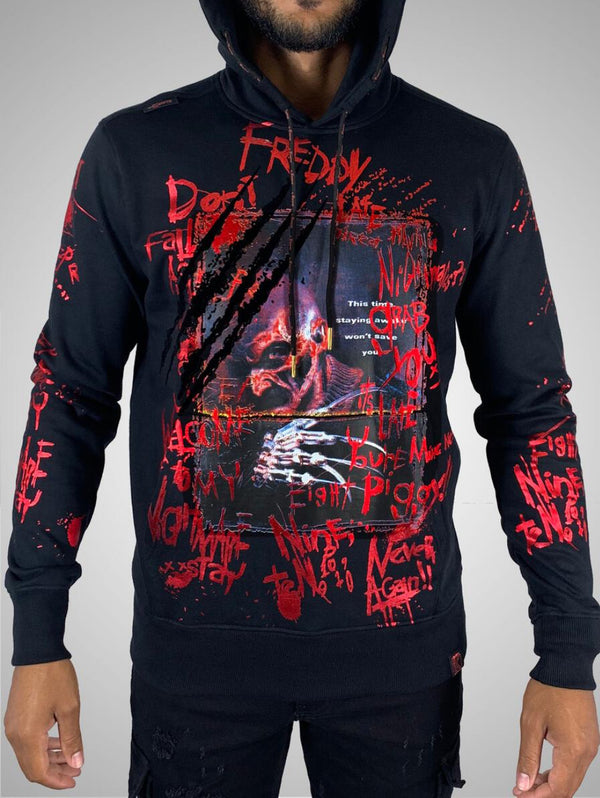 De Kryptic-Nightmare On Elm Street Freddy Krueger Foil Hoodie-Black
